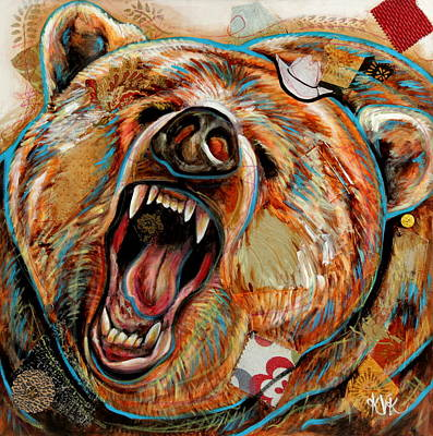 Mixed Media - The Grizzly Bear by Katia Von Kral