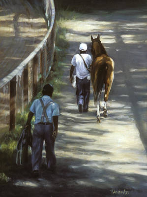 Horse Racing Painting - The Grooms by Linda Tenukas
