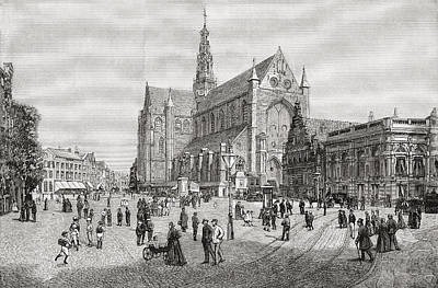 Harlem Drawing - The Grote Kerk Or St.bavokerk In The by Vintage Design Pics