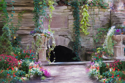 Garden Statuary Painting - The Grotto by Carolyn Whitaker