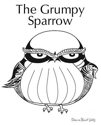 Digital Art - The Grumpy Sparrow by Deanna Yildiz