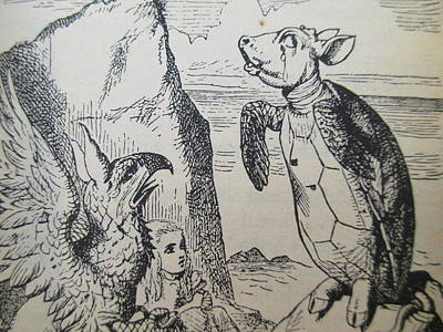 Griffon Drawing - The Gryphon, Alice, And The Mock Turtle by David Lovins