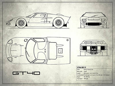 Gt40 Photograph - The Gt40 Blueprint - White by Mark Rogan