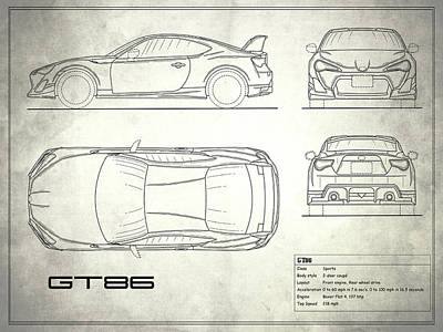 Toyota Photograph - The Gt86 Blueprint - White by Mark Rogan