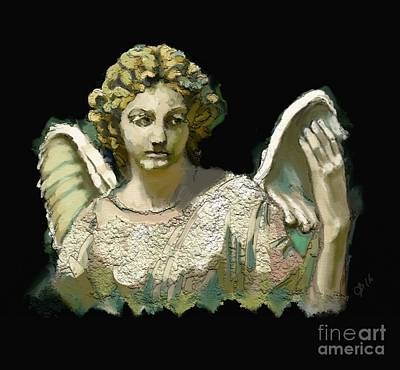 Christian Artwork Digital Art - The Guardian Angel by Carrie Joy Byrnes
