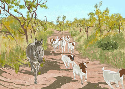 Donkey Digital Art - The Guardian by Carole Boyd