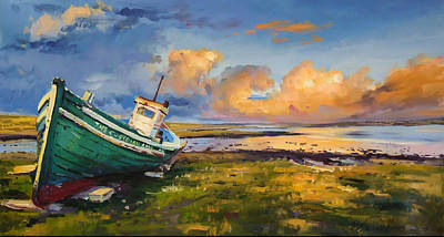 Fishing Boats Painting - The Guardian by Conor McGuire