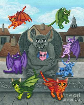 The Guardian Gargoyle Aka The Kitten Sitter Art Print