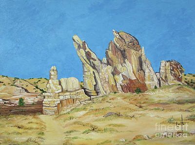 Abiquiu Painting - The Guardian Of Plaza Blanco by Lorita Montgomery
