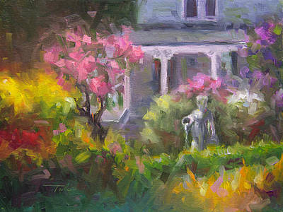 Painting - The Guardian - Plein Air Lilac Garden by Talya Johnson