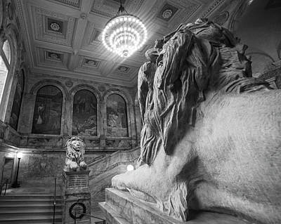 Photograph - The Guardians Boston Public Library Lion Statues Black And White by Toby McGuire