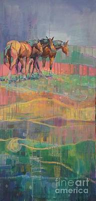 Horse Herd Painting - The Guardians by Kimberly Santini