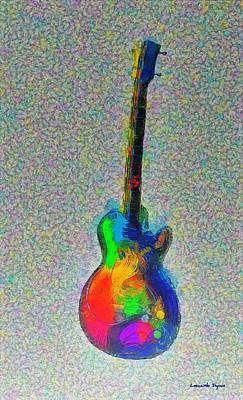 Rock And Roll Digital Art - The Guitar - Da by Leonardo Digenio