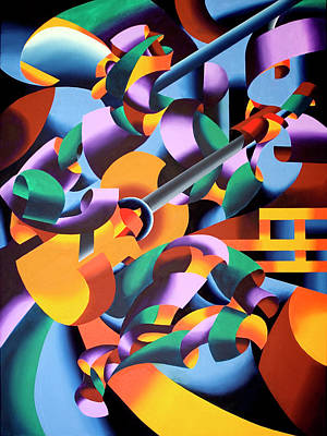 Abstract Painting - The Guitar Player In San Gimignano Italy by Mark Webster