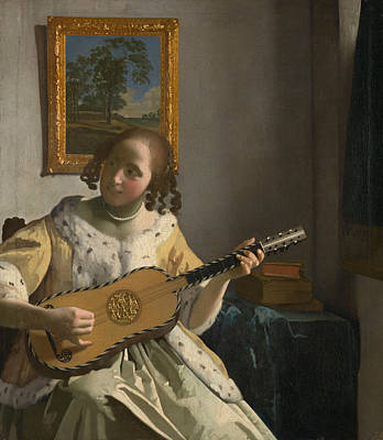 Netherlands Painting - The Guitar Player by Johannes Vermeer