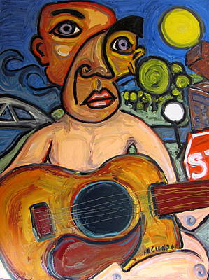 Pi Painting - The Guitar Player by Karl Haglund