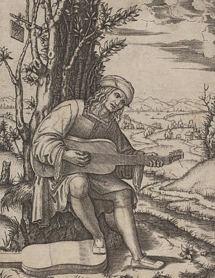 Playing Drawing - The Guitar Player by Marcantonio Raimondi