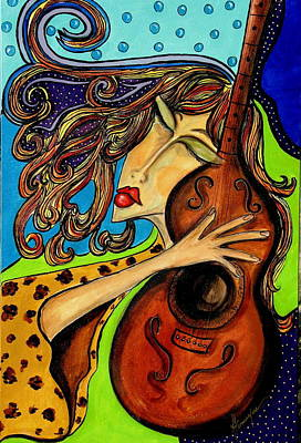 The Guitarist Art Print by Yvonne Feavearyear
