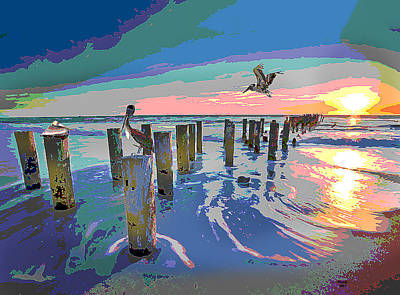 Beach Sunset Mixed Media - The Gulf Coast by Charles Shoup
