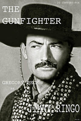 St. Louis Mixed Media - The Gunfighter, Gregory Peck As Jimmy Ringo, Movie Poster, 20 Century Fox  by Thomas Pollart
