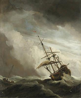 Turbulent Skies Painting - The Gust by Willem van de Velde