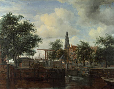 Streetscape Painting - The Haarlem Lock, Amsterdam by Meindert Hobbema