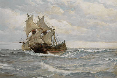 Water Vessels Painting - The Half Moon by Montague Dawson