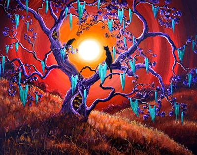 Cat Sunset Painting - The Halloween Tree by Laura Iverson