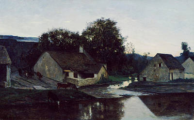 Urban Scenery Painting - The Hamlet Of Optevoz by Charles-Francois Daubigny