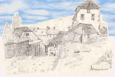 Drawing - The Hamlet With Sky by Donna Munro