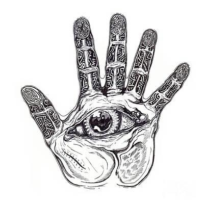 Fingerprint Drawing - The Hand Of Wisdom by Daniel Brunner