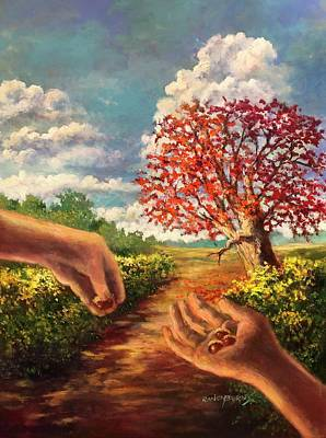 Painting - The Hand That Plants The Acorn Shelters Armies From The Sun by Randy Burns