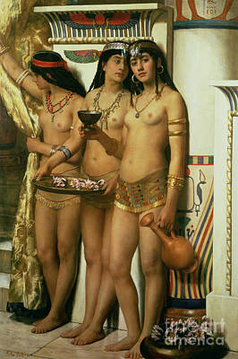 Orientalist Painting - The Handmaidens Of Pharaoh by John Collier