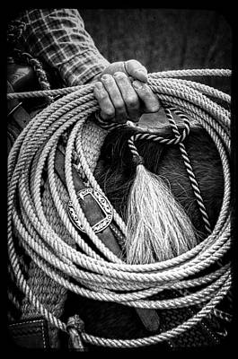 Working Cowboy Photograph - The Hands Of A Cowboy In Black And White by Greg Mimbs