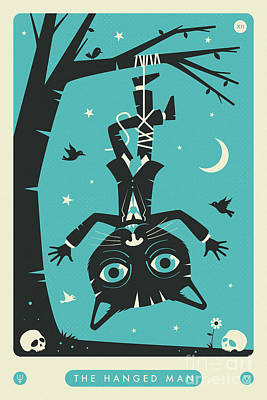 Tarot Wall Art - Digital Art - The Hanged Man Tarot Card Cat by Jazzberry Blue