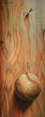 Painting - The Hanging Baseball by William Albanese Sr