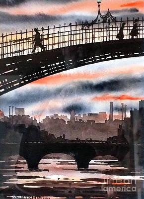 Painting - The Hapenny Bridge, Dublin....vb711 by Val Byrne