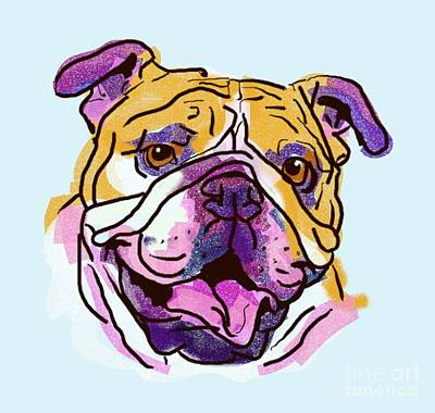 English Bulldog Drawing Drawing - The Happy Bulldog Love Of My Life by I Am Lalanny