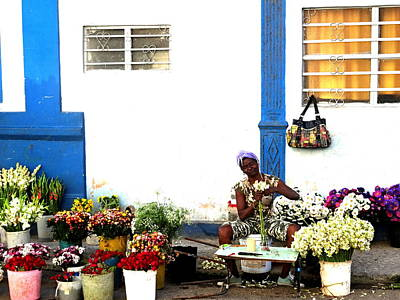 Photograph - The Happy Flower Lady In Havana Cuba  by Funkpix Photo Hunter