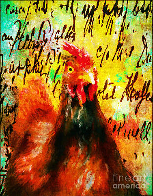 Digital Art - The Happy Hen by Tina LeCour