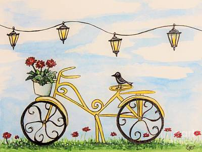 Painting - The Happy Yellow Bicycle by Elizabeth Robinette Tyndall