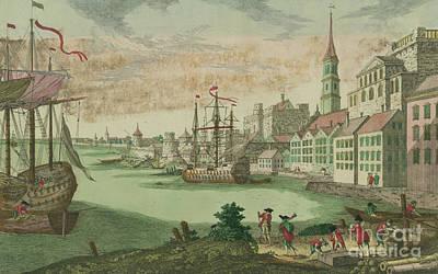 Pirate Ship Drawing - The Harbor In Boston, Massachusetts, 1770  by Franz Xavier Habermann