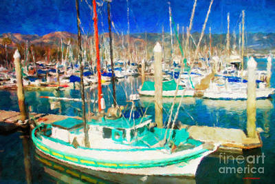 Abstract Trees Mandy Budan - Santa Barbara Harbor by Jerome Stumphauzer