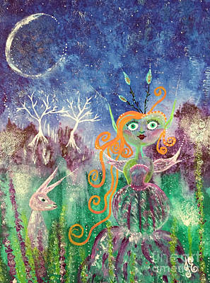 Painting - The Hare And The Fairy by Julie Engelhardt