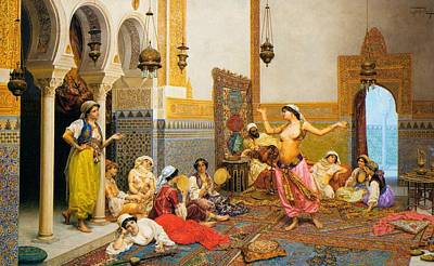 Mideast Painting - The Harem Dance by Mountain Dreams