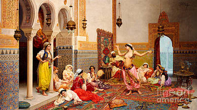 Persian Carpet Painting - The Harem Dance by Giulio Rosati