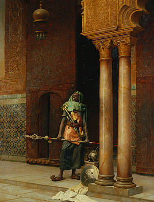 Harem Painting - The Harem Guard  by Ludwig Deutsch