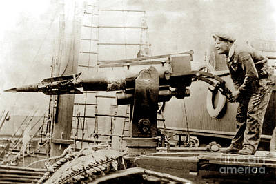 Photograph - The Harpoon Gun Gun On A Whaling Ship 1915 by California Views Mr Pat Hathaway Archives