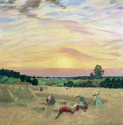 Field. Cloud Painting - The Harvest by Boris Mikhailovich Kustodiev