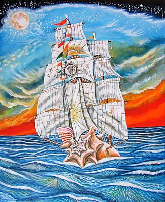Sea Moon Full Moon Painting - The Harvest Conchquest by Abigail White